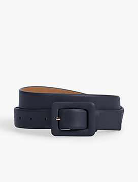 Leather Covered-Buckle Belt