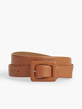 Womans Exclusive Leather Covered-Buckle Belt