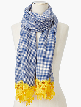 Gingham Yarn-Dyed Scarf With Embroidery
