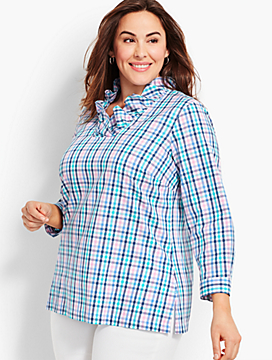 Ruffle-Neck Popover Tunic-Gingham
