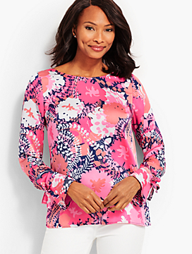Cascading Flowers Tie-Sleeve Top