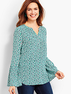 Washable Silk Popover-Daisy-Dot