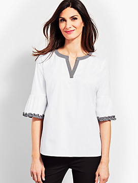Gingham-Trim Poplin Top