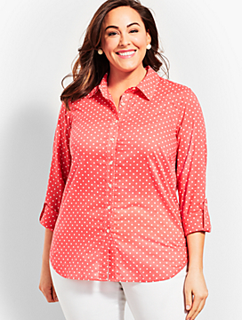 Classic Button Front Shirt - Dancing Dot