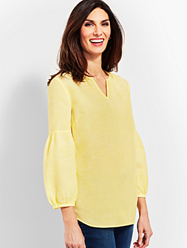 Linen Lantern-Sleeve Popover Shirt - Cross-Dyed