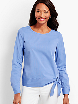 Poplin Side-Tie Top-Berry Blue
