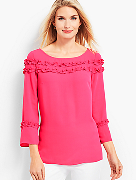 Shirred Ruffle Top - Solid