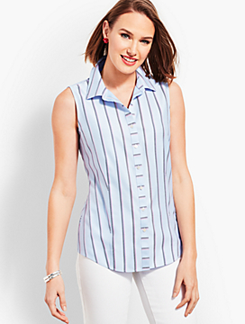 The Classic Sleeveless Button Front Shirt - Stripe