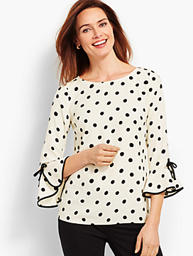Crepe Tie-Sleeve Dot Top