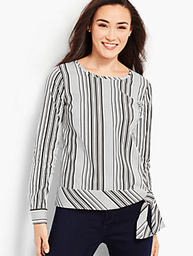 Poplin Side-Tie Top - Parlor Stripe