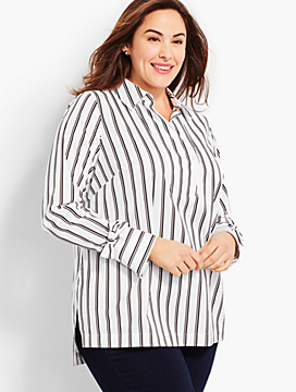 Womans Exclusive Variegated Tie-Cuff Popover-Stripe