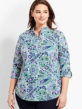 Womans Exclusive Ruffle Tunic - Blooming Paisley