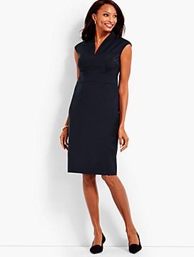 Seasonless Wool Extended-Shoulder Sheath Dress