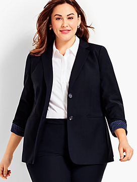 Seasonless Wool Long Double-Button Blazer