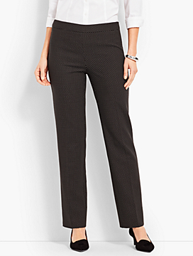 Mini-Dot Straight-Leg Pant
