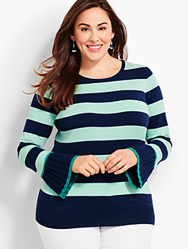 Stripe Tipped-Cuff Sweater