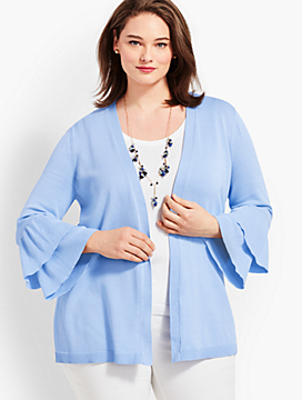 Plus Size Exclusive Flounce-Sleeve Open Cardigan