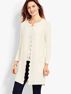 Scallop-Edge Open Front Cardigan