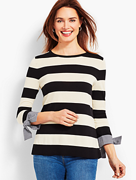 Striped Crewneck with Gingham Cuff and Bow