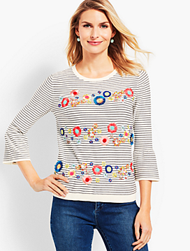 Floral Row Crewneck Sweater
