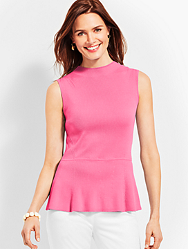 Mockneck Peplum Sweater Shell