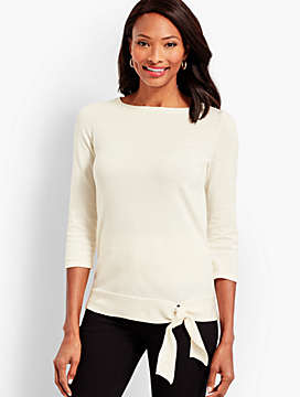 Side-Tie Boatneck Sweater