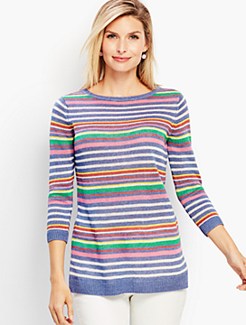 Petunia Stripe Linen Crewneck Sweater