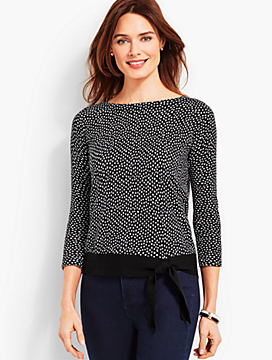 Dotted Side-Tie Boatneck Sweater