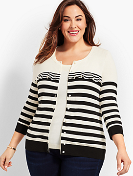 Charming Cardigan - Stripe Ruffle Yoke