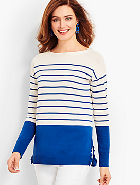 Ruffle-Edge Sweater-Stripe