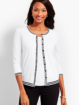 Tipped Charming Cardigan - White