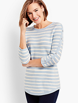 Links Striped Button-Detailed Sweater