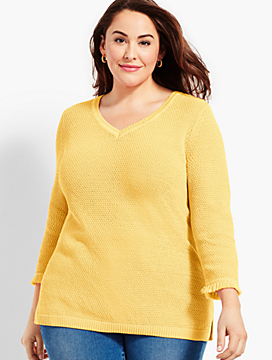 Textured V-Neck Sweater With Fringed-Trimmed Sleeves