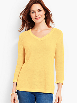 Textured V-Neck With Fringed-Trimmed Sleeves