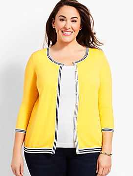 Tipped Charming Cardigan - Lemon Tart