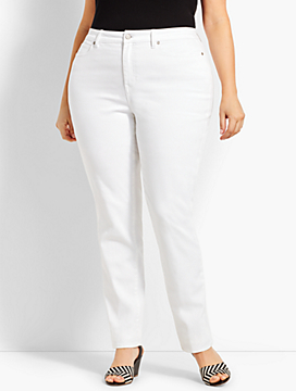 High-Rise Denim Straight-Leg - Curvy Fit/White