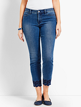 Scallop-Hem Denim Slim Ankle - Curvy Fit/Taylor Wash