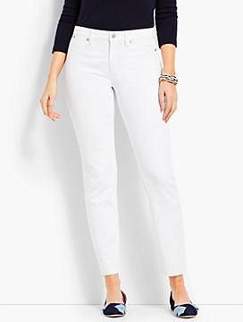 Patched Denim Slim Ankle - Curvy Fit/White