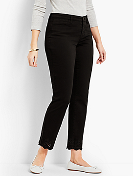 Scallop-Hem Denim Slim Ankle - Curvy Fit/Black