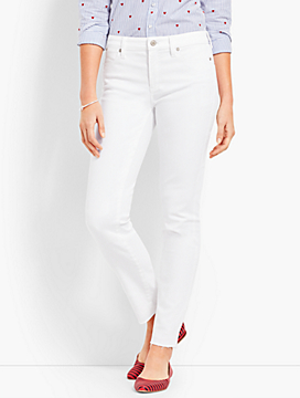 Patched Denim Slim Ankle - White