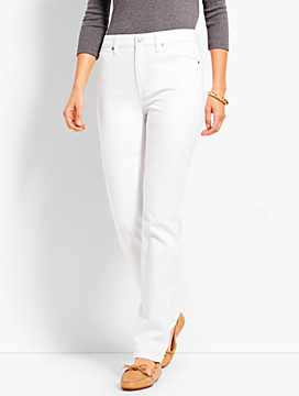 High-Waist Straight-Leg Jeans - White