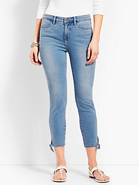 Tie Hem Denim Jegging Crop- Sea Salt Wash