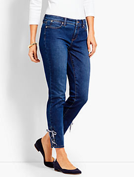 Gingham Lace-Up Denim Slim Ankle - Brenton Wash