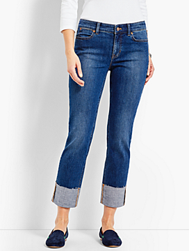 Cuffed Denim Straight Crop - Taylor Wash