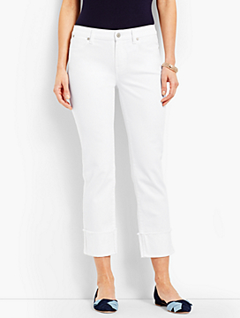 Cuffed Denim Straight Crop - White