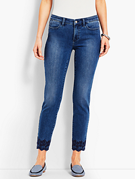 Scallop-Hem Denim Slim Ankle - Taylor Wash