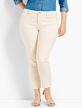 Let-Down Hem Denim Slim Ankle - Natural