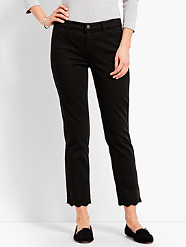 Scallop-Hem Denim Slim Ankle - Black