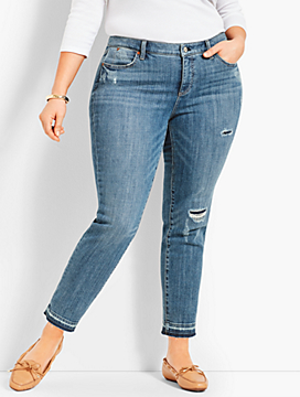 Patched Denim Slim Ankle - Stratton Wash