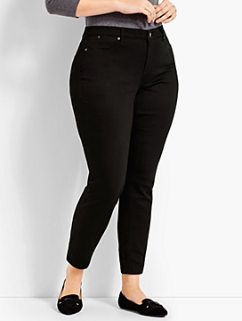 Womans Exclusive Luxe Stretch Denim Slim Ankle - Curvy - Black